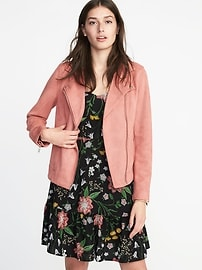 Sueded-Knit Moto Jacket for Women - Winter Rose
